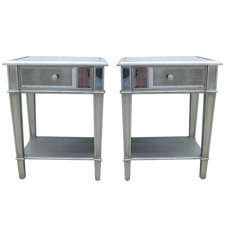 pair of tall mirrored end tables at 1stdibs