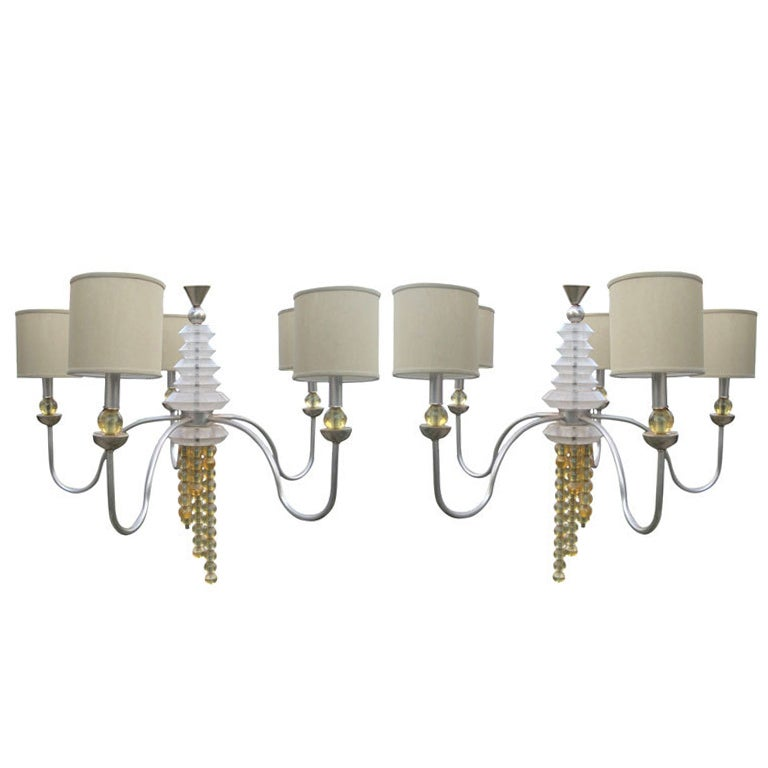 Pair of Glamorous Gio Ponti Style Chandeliers