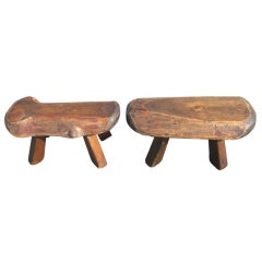 Pair of Live-Edge Wooden Fireside Miniature Stools
