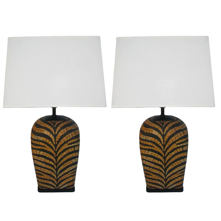 Pair of Tiger Stripe Lamps