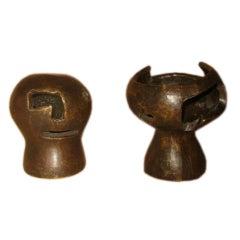 Empty Heads Miniature Bronze Sculptures by Mathias Goeritz