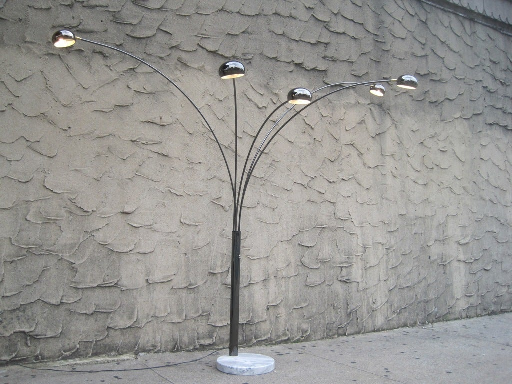 5 arm arc floor lamp at 1stdibs for 5 five arm floor lamp light