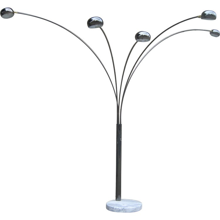 Five arm arc floor lamp at 1stdibs for Arc nero 5 light floor lamp