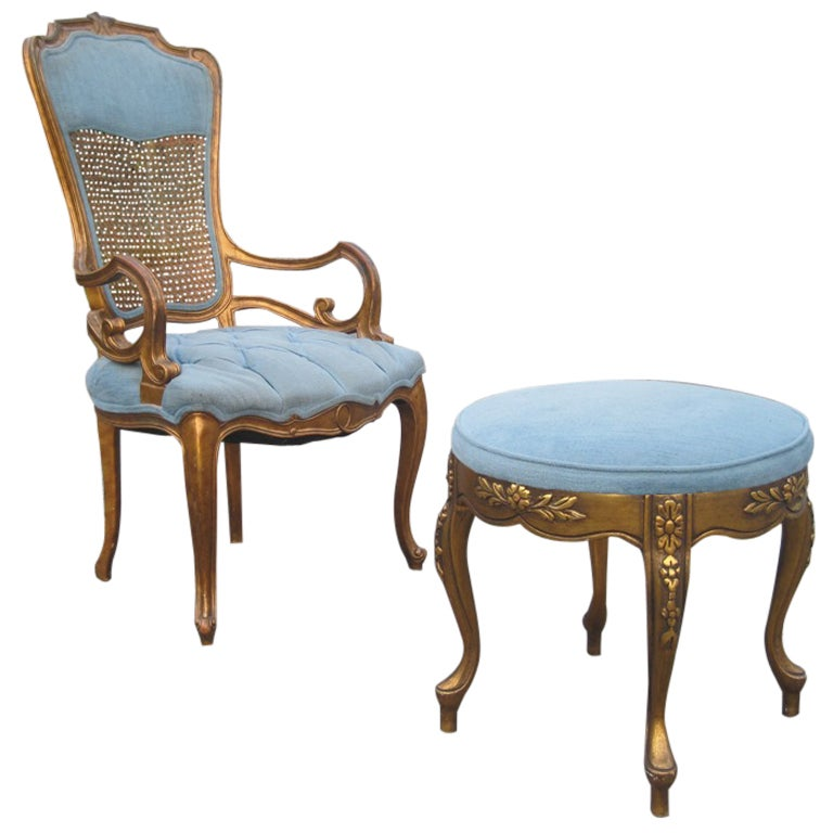 High Style Regency Single Chair And Ottoman For Sale At 1stdibs