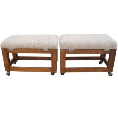 Pair of Mid-Century Modern Signed Mahogany Ottomans