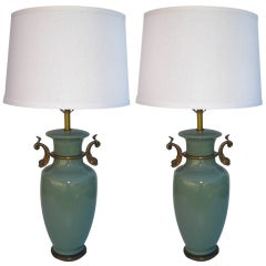 Pair of Undine Celadon Lamps