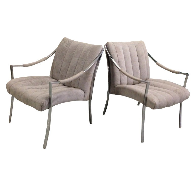 Pair of Milo Baughman Klismos Lounge Chairs