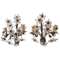 c1920's Pair Crystal Daisy Flower Sconces
