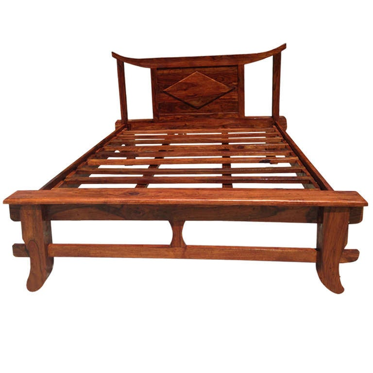 vintage teak queen size bed frame at 1stdibs. Black Bedroom Furniture Sets. Home Design Ideas