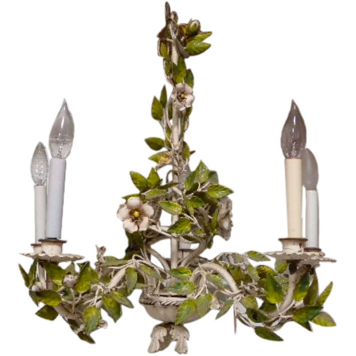 Hand Painted Italian Tole Chandelier White Wild Roses Five Lts At Stdibs
