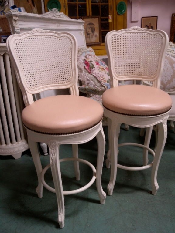 pair 2 french country cane back bar stools pink