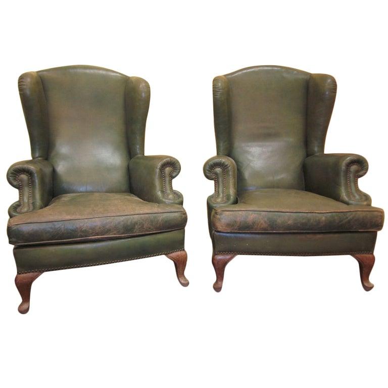 Rudolf Nureyev Vintage Leather Wing Back Chairs At 1stdibs