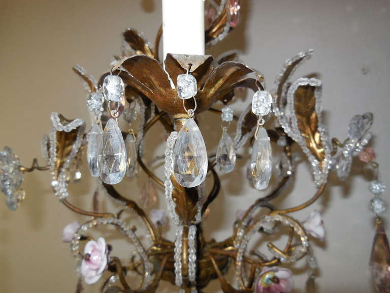 C1920 French Pink Crystal Gilded Helix Chandelier At 1stdibs