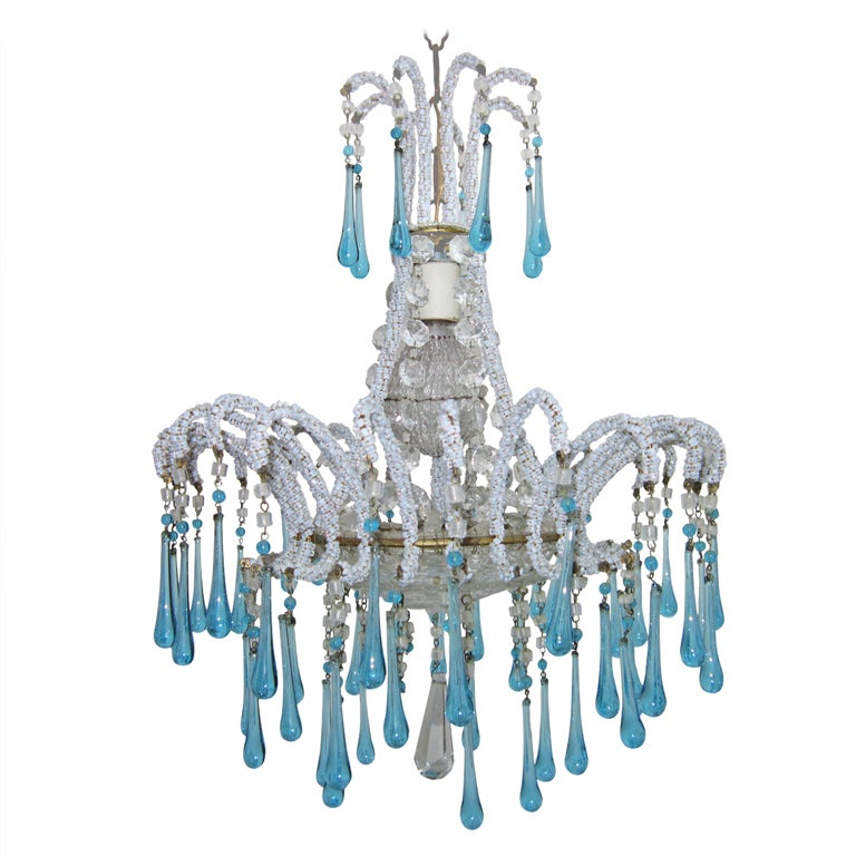 Vintage turquoise beaded chandelier at 1stdibs