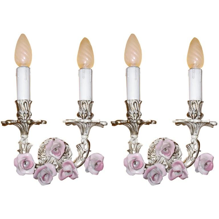 Pair Vintage Pink Porcelain Rose Sconces at 1stdibs