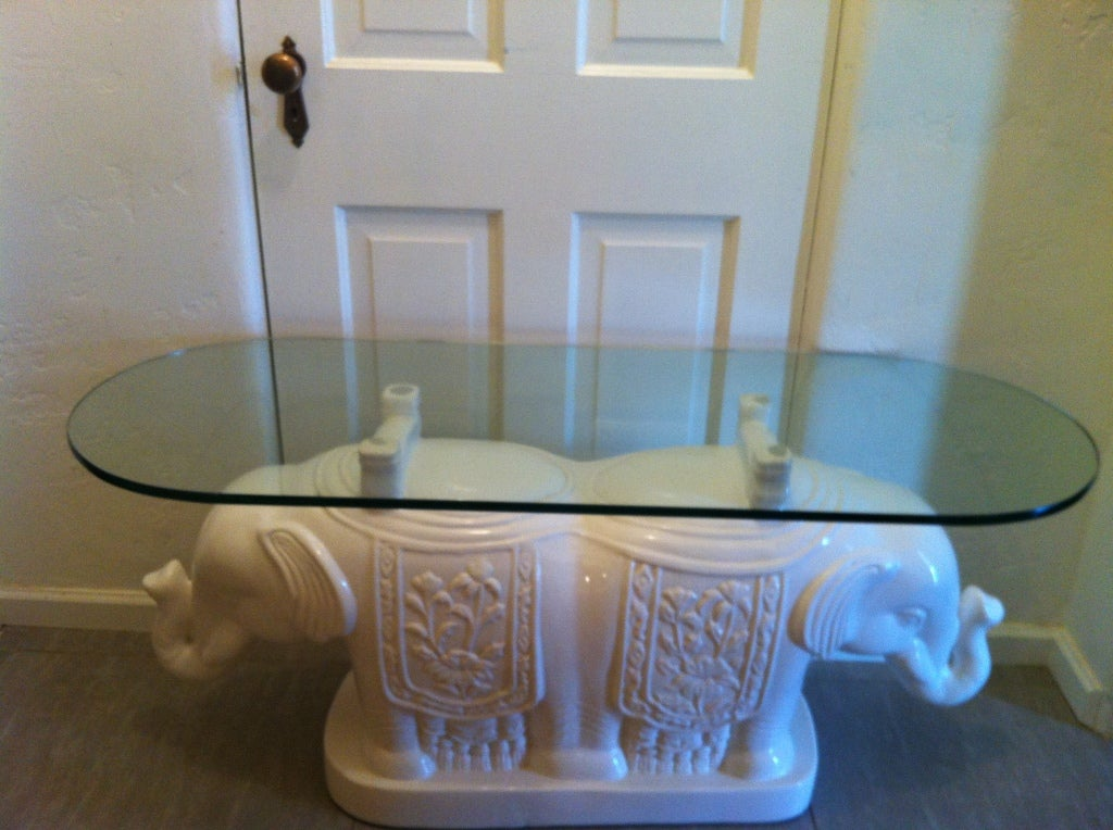 Vintage Elephant Glass Top Coffee Table At 1stdibs