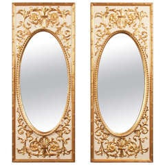 Pair of Neoclassical Parcel-Gilt Mirrors