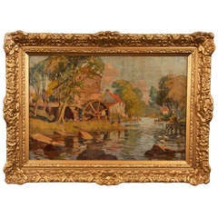 Early 20th Century Old Mill Oil Painting