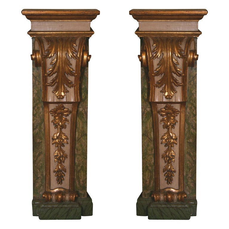 Pair of Architectural Painted and Parcel-Gilt Pilasters
