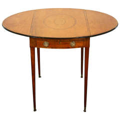 18th Century Oval Marquetry Inlaid Pembroke Table