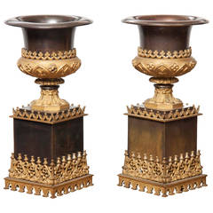 Pair of Bronze and Gilt Metal Urns