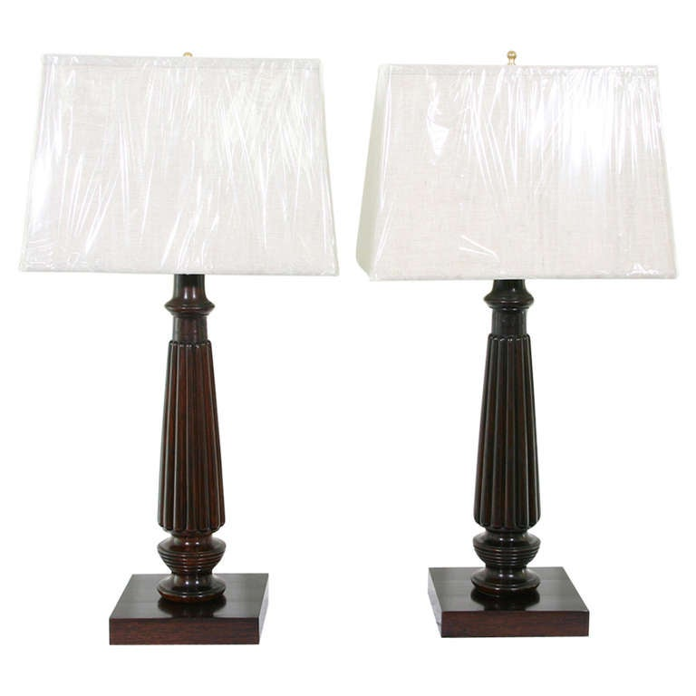 Pair of Early 19th Century Rosewood Lamps
