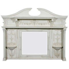 English Edwardian Period Neoclassical Style Painted over Mantel Mirror