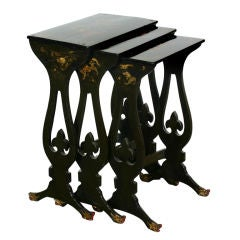Set of Black Lacquer Nesting Tables