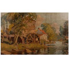 Early 20th Century Oil Painting of a Mill
