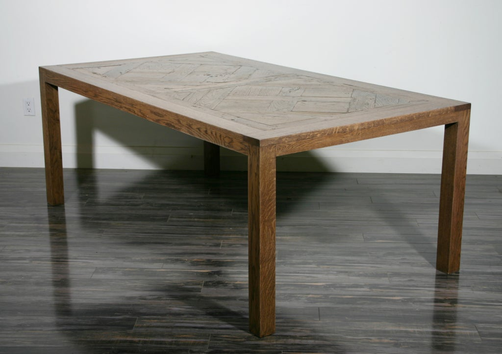 A French Oak Dining Table The Top Late 17th Century Parquetry De Versailles Panels On