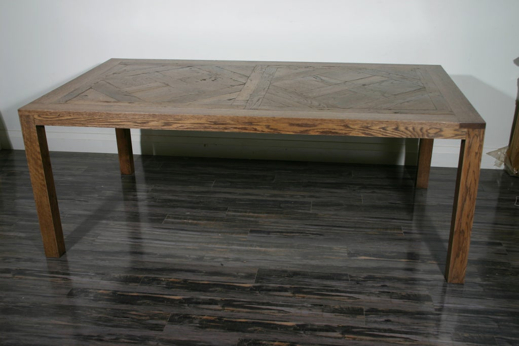 A French Oak Parquetry Top Dining Table In Excellent Condition For Sale Mississauga CA