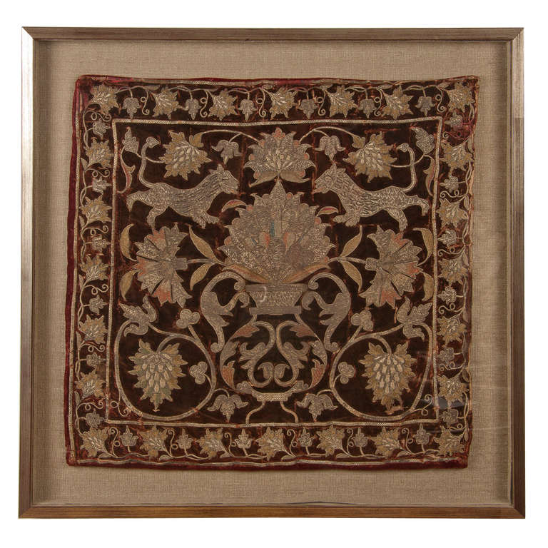 19th Century Embroidered Panel