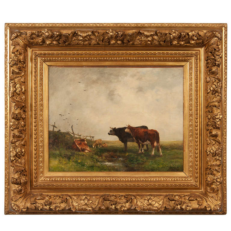 19th Century Painting of Cows