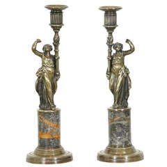 Pair of French Bronze and Marble Candlesticks