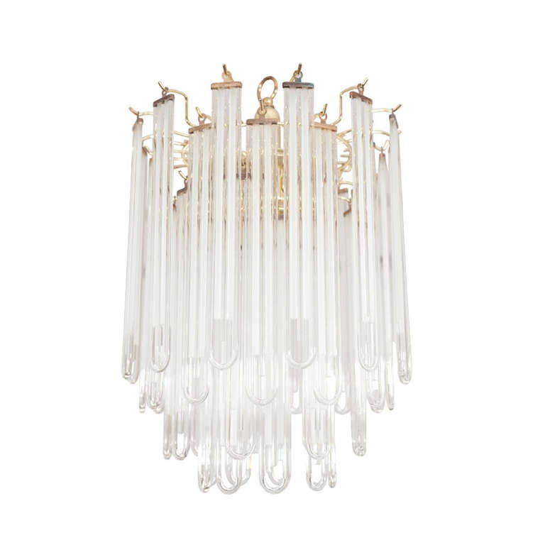 Pair Of 1970 39 S Glass Rod Pendant Lights At 1stdibs