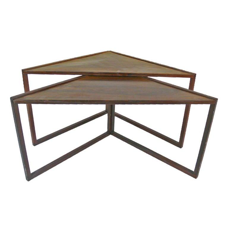 Midcentury Rosewood Triangular Nesting Tables 1