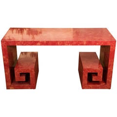 Faux Marble Hollywood Regency Console/Serving Table with Greek Key Motif