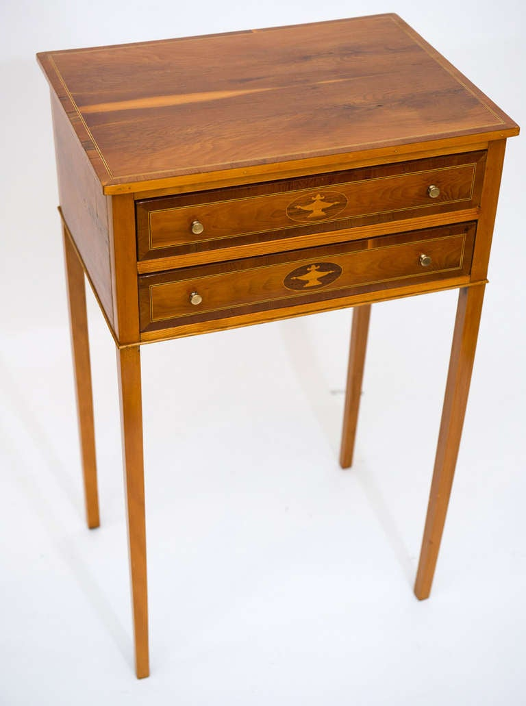 Pair Of Sheraton Style Inlaid Lamp Tables At 1stdibs