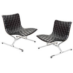 Pair of PLR Leather Chairs By Ross Littell