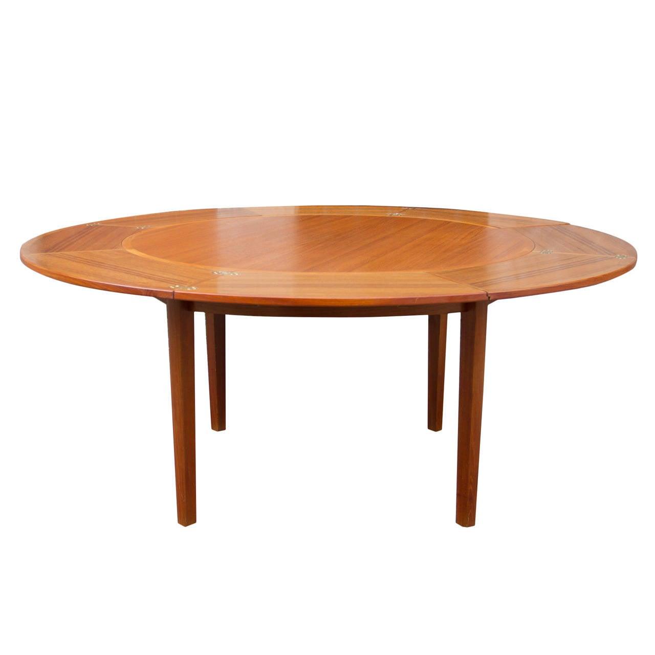 Danish Round Dyrlund Extending U0027u0027Flip Flapu0027u0027 Dining Table 1