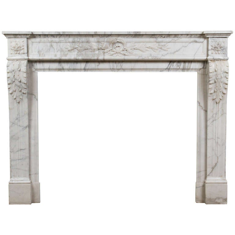 White and Grey Louis XVI Style Marble Mantle