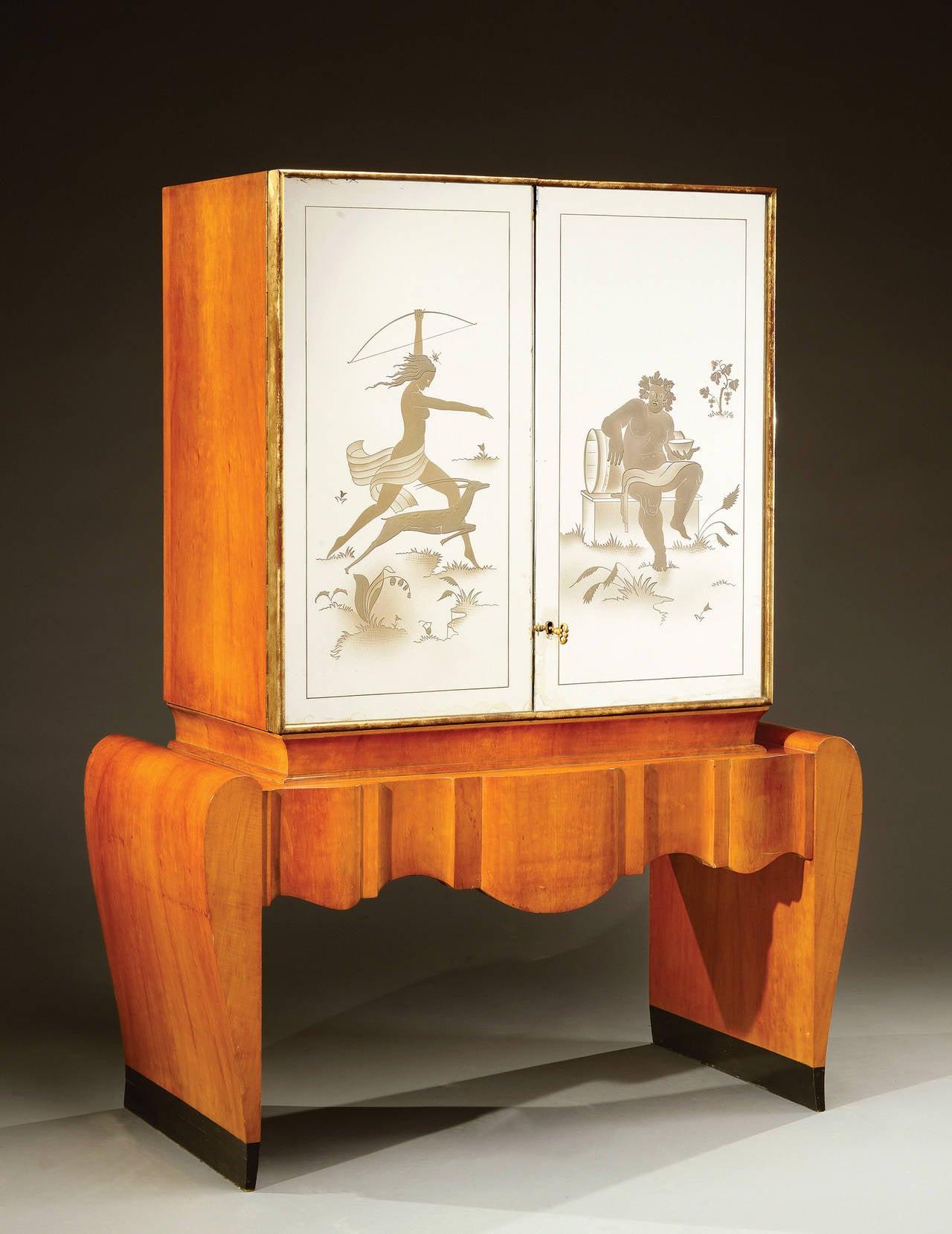 Stunning Art Deco Italian Bar Cabinet For Sale At 1stdibs