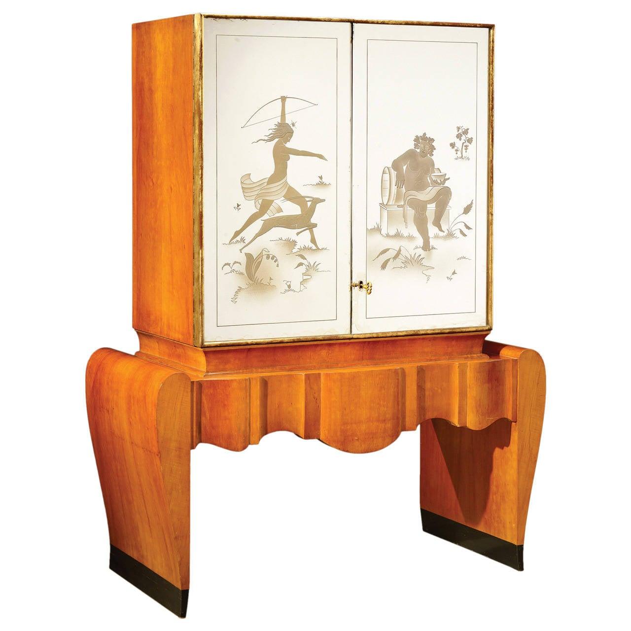 Stunning art deco italian bar cabinet for sale at 1stdibs for Art deco bar furniture