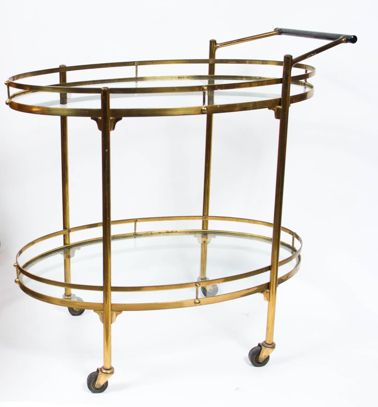 elegant 1950s italian brass bar cart for sale at 1stdibs. Black Bedroom Furniture Sets. Home Design Ideas