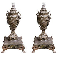 Pair of Victorian Shell Form Urns