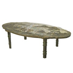 Etched Bronzed Coffee Table by Philip and Kelvin Laverne