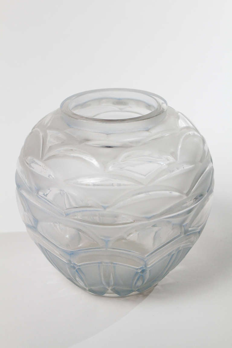 French Art Deco Period moulded glass Vase by A. Hunebelle