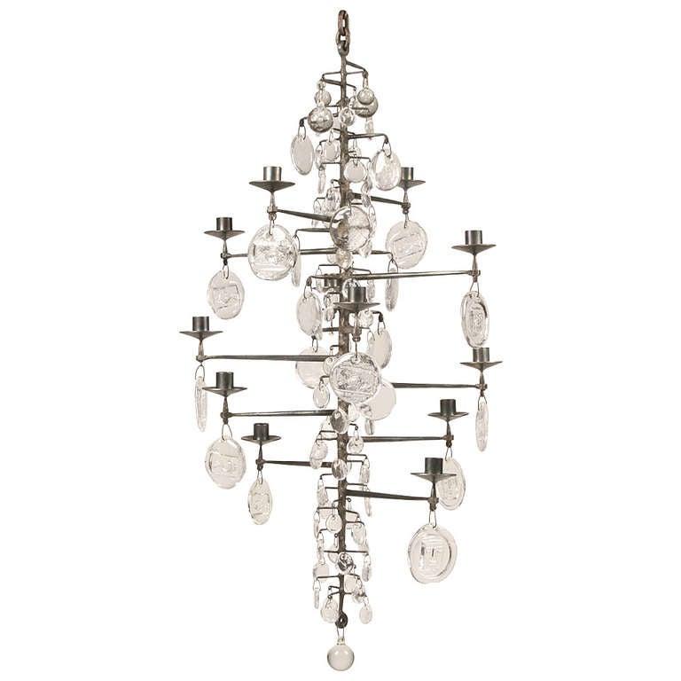 rare erik hoglund wrought iron and glass hanging light. Black Bedroom Furniture Sets. Home Design Ideas