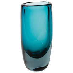 Vibrant Blue Glass  Vase By Vickie Lindstrand