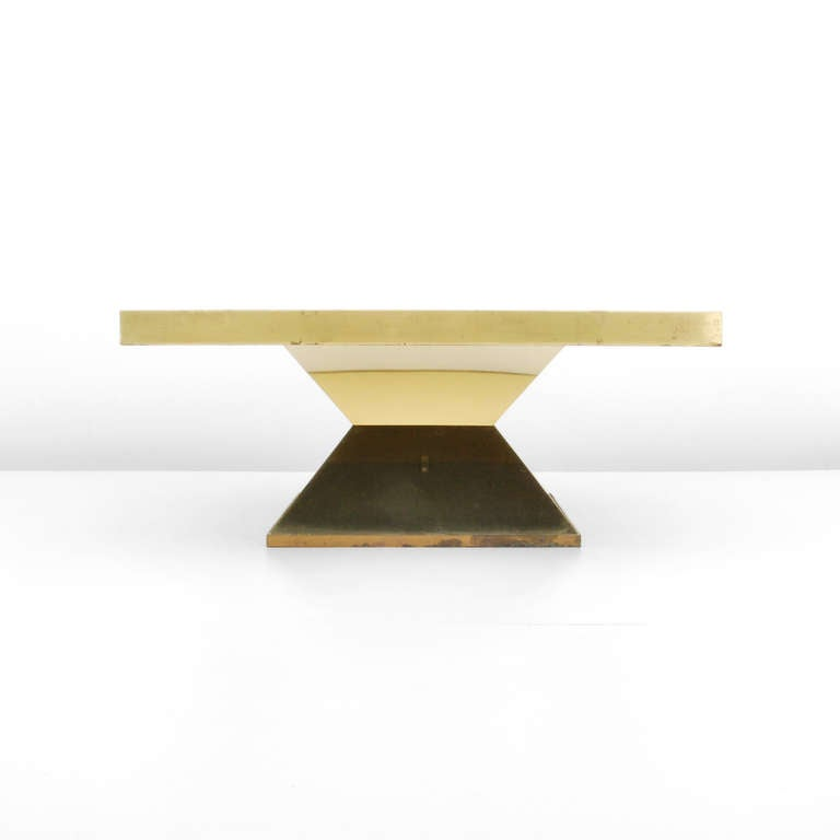 Mid-Century Modern Brass Coffee or Cocktail Table by Willy Daro For Sale